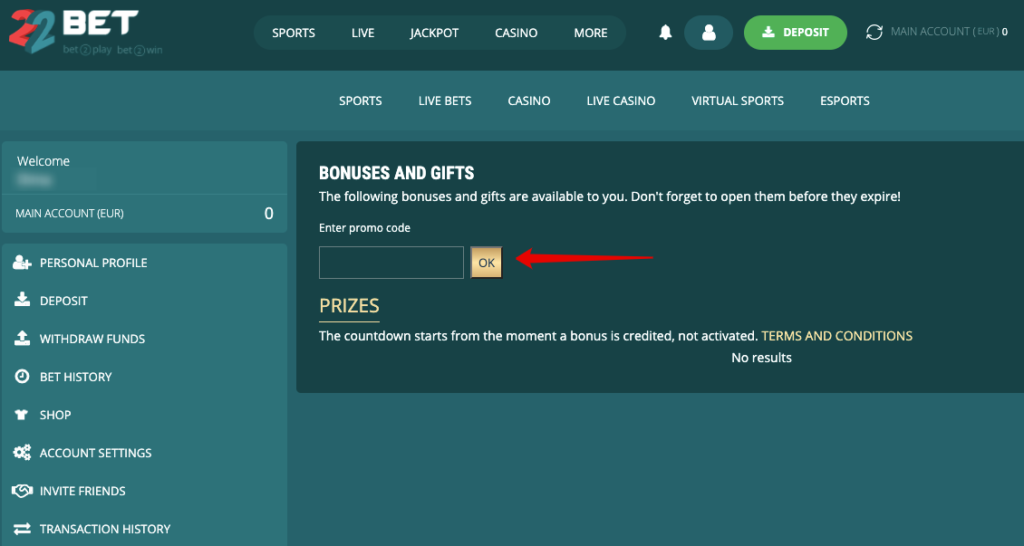 22Bet promo codeInstruction for usage to make the code active