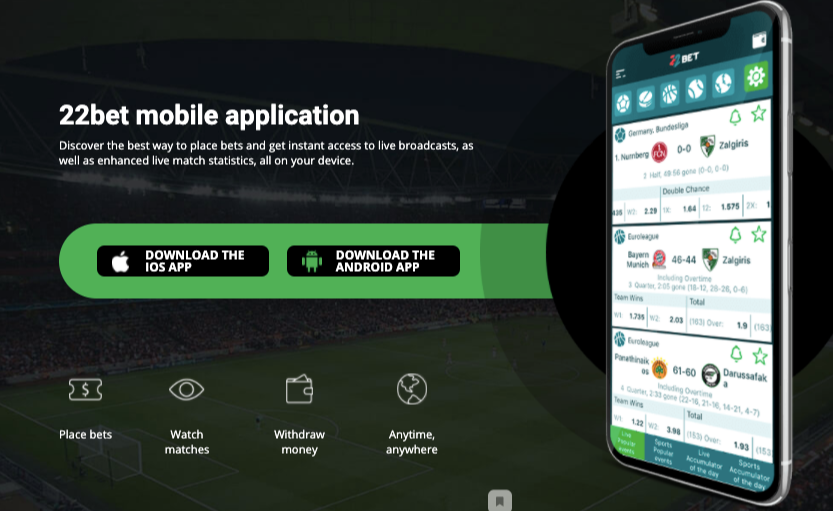 Mobile 22bet app login official