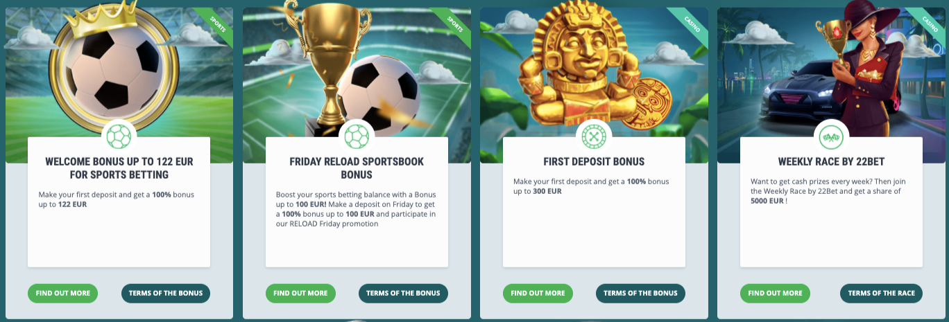 Active bonusesRead 22bet bonus terms to understand the usage of the exact bonus