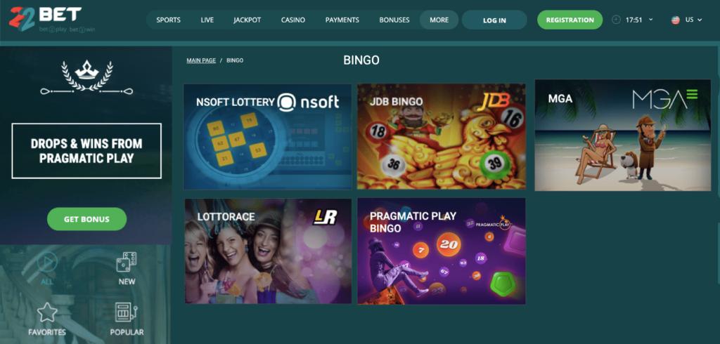 casino 22bet bingo
